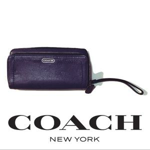Coach double top zip bleecker wallet purple # gc2